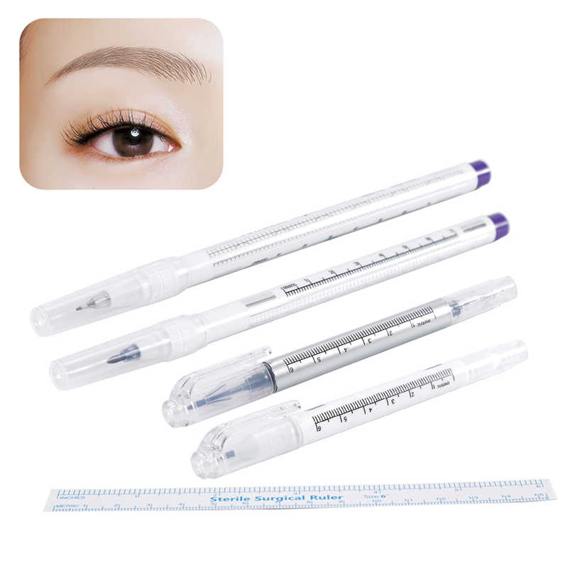Microblading Tattoo Augenbraue Chirurgische Haut Marker Stift mit Lineal Volle Professionelle Permanent Make-Up Tattoo Supplies Zubehör
