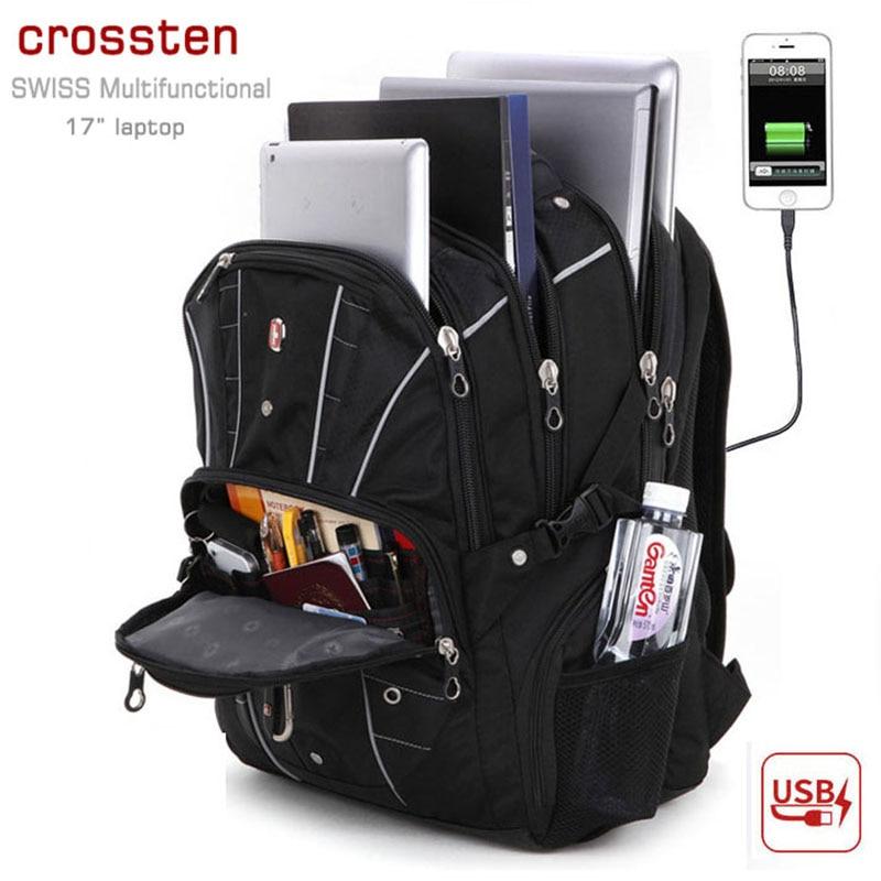 "Swiss Waterproof Multifunctional USB Charger Port Backpack 5 interlayer anti theft lock Travel bag Schoolbag 17"" laptop Backpack|Backpacks|Luggage & Bags - title="