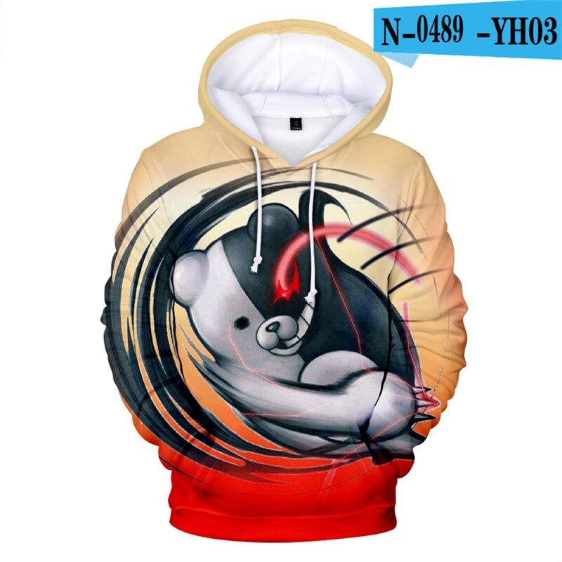 Moletom  Anime Hoodies Danganronpa Hoodie Sweatshirt Long Sleeve 3d Printed Game Clothes  Black White Bear Monokuma Oversized 3