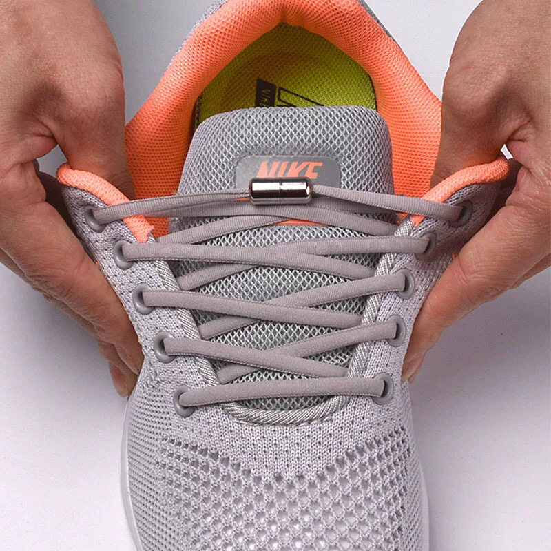 1Pair Elastic Semicircle Shoelaces Locking Shoelaces Sneakers Shoe Laces Quick No Tie Shoelace Kids Adult Shoelace 21colors
