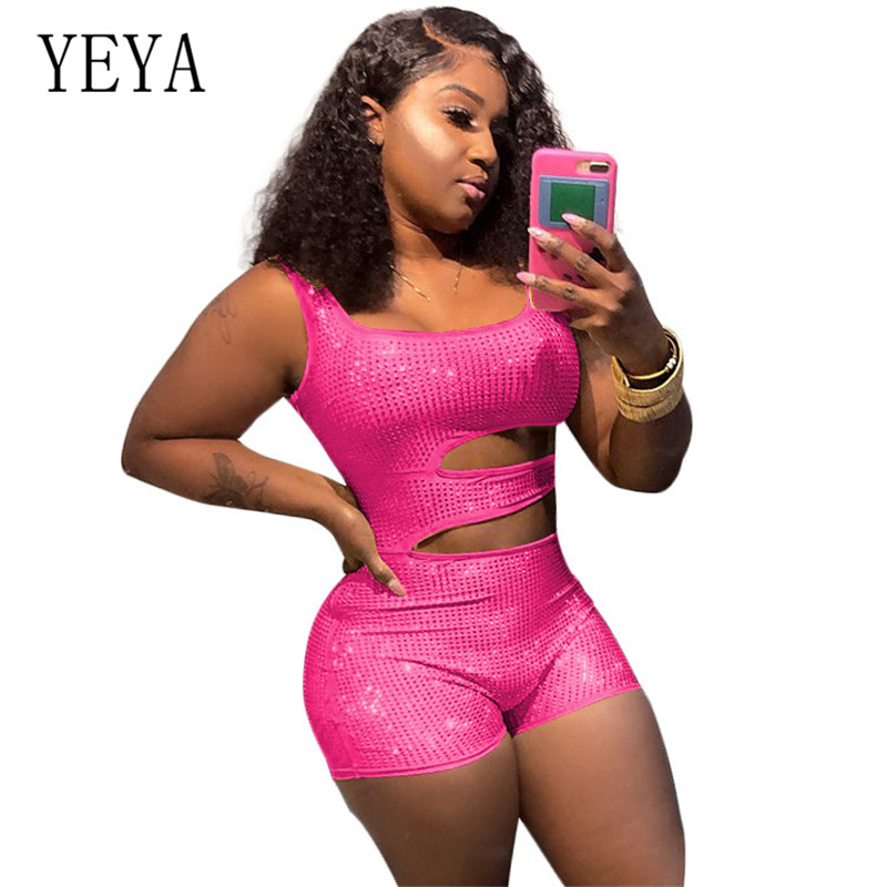 YEYA Sexy Diamond Rhinestone Playsuits Streetwear Bodycon Overalls Festival Sleeveless Club Party Shorts Rompers Womens Jumpsuit