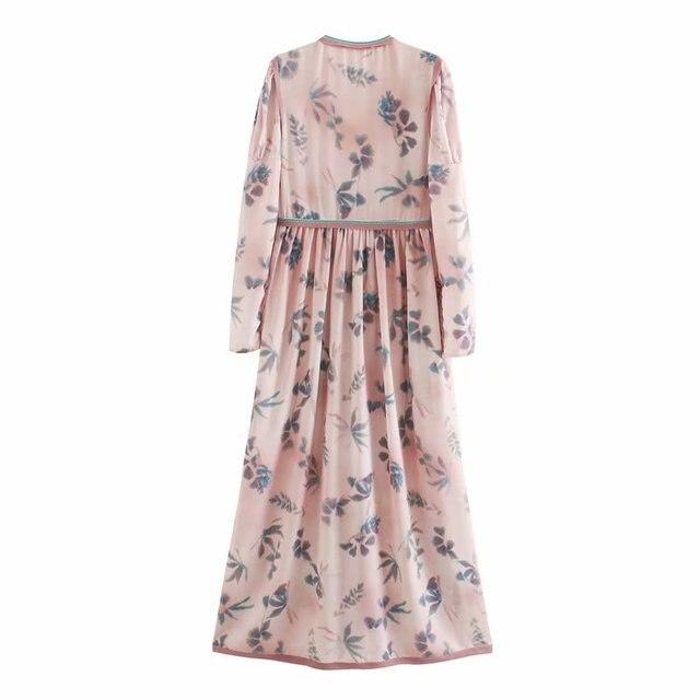 2020 Spring Summer New Grand Prix Print pink zaraing women Dress sheining vadiming female Dress vintage plus size XDN9539 3
