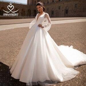 Image 1 - Fashion V neck Satin Wedding Dress 2020 Detachable 2 In 1 A Line Princess Swanskirt I216 Bridal Court Train Vestido de Noiva