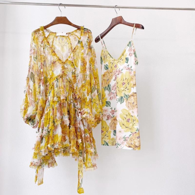 100% Silk Women V- Neck Print Fashion High Guality Autumn Dress