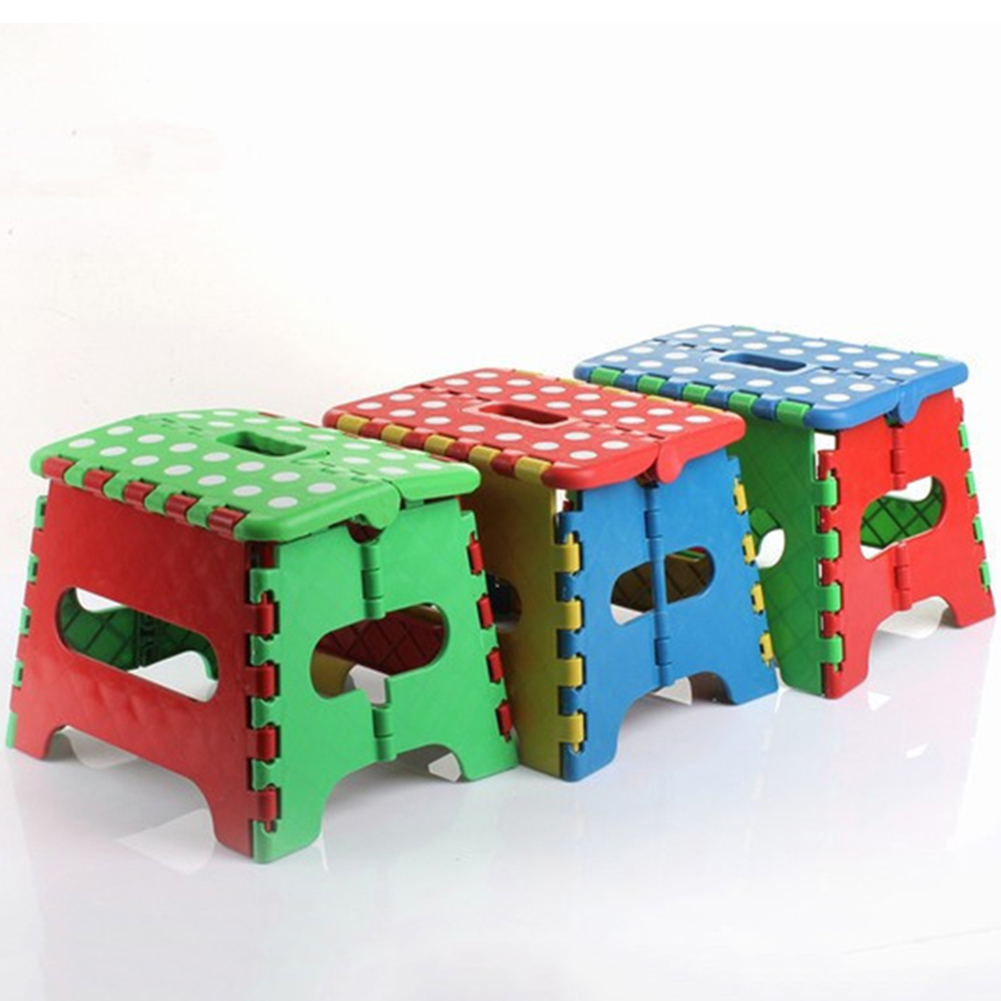 Hinmay Small Folding Step Stool Plastic Multi Purpose Slip Resistant Top Step Foldable  Storage Home Kitchen - 22*17*18cm