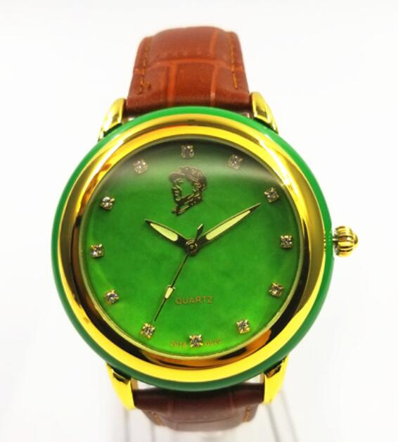 Green Jadeiteer Jades State Guest Watch Fashion Business Men's Student Creative Quartz Watch Non-mechanical