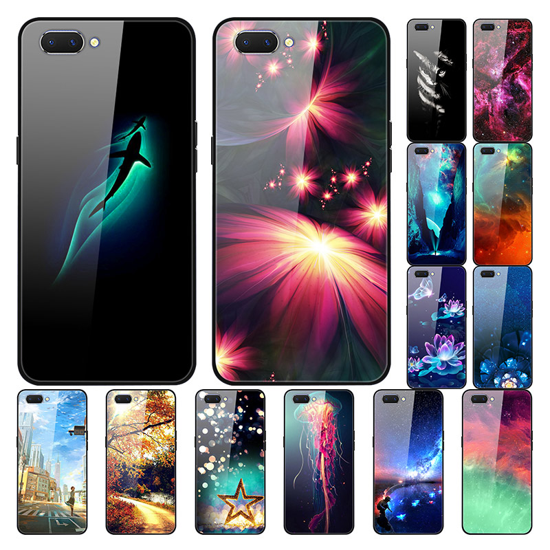 For Oppo A3S Case A 3S Glass Hard Phone Cover For Oppo AX5 Cases For OPPO A5 AX5S Cover Luxury Tempered Cool OPPOA3S AX 5S Coque image