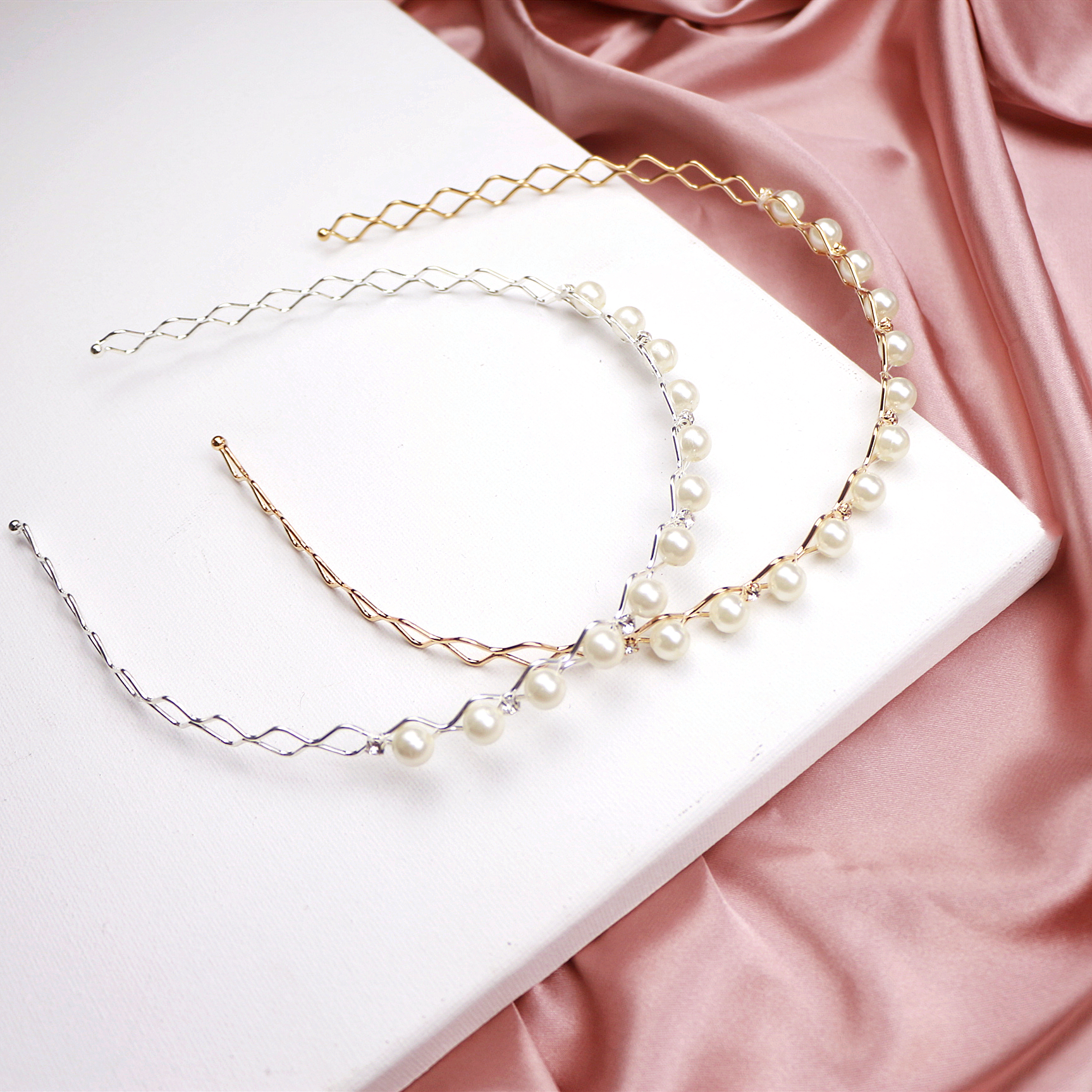 2019 New Exquisite Pearl Diamond Geometric Wave Women Hair Hoop Hair Band For Girls Princess Sweet Headband Hair Accessories