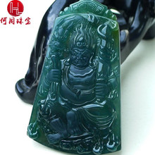 Hezhou jewelry!Myanmar natural jade!Exquisite hand carving!Guan gong pendant!Exquisite workmanship!33.11g mozart the statue of guan gong enshrines the god the sword lifts guan gong guan yu guan er ye wu caishen lucky ornaments