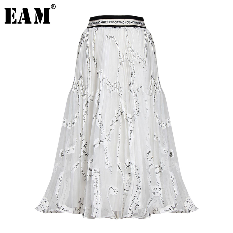 [EAM] High Elastic Waist Letter Printed Organza Temperament Half-body Skirt Women Fashion Tide New Spring Autumn 2020 1U310