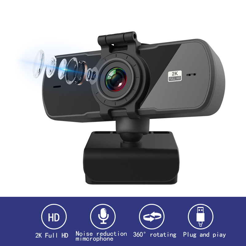 Новая веб-камера 2K с автофокусом USB Full HD веб-камера с микрофоном камера для Mac ноутбука компьютера видео в режиме реального времени