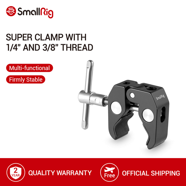 "SmallRig Super Clamp With 1/4"" and 3/8"" Thread for Cameras/Lights/Umbrellas/Hooks/Shelves/Plate Glass/Cross Bars  735"