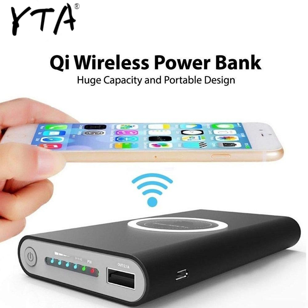 Hot 10000mAh Wireless Power Bank For iPhone XS Max XR X Samsung S9 S8 Powerbank <font><b>10000</b></font> <font><b>mAh</b></font> Qi Wireless Charger Charging Powerbank image