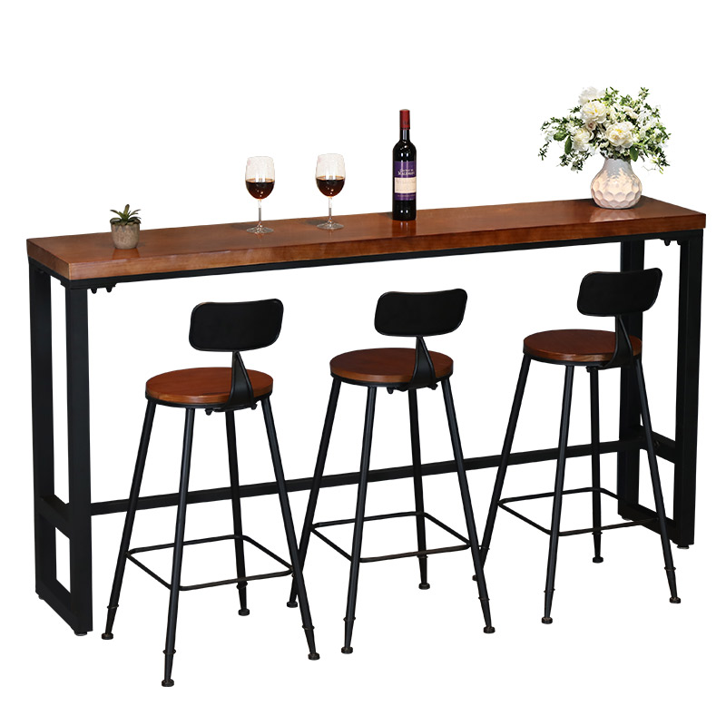 Bar Table With Solid Wood Against Wall, Narrow ,   And Chair Combination, Retro Small  , Domestic High Foot