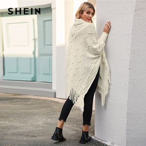 Image 5 - SHEIN High Neck Solid Fringe Hem Casual Poncho Sweater Women Tops Autumn Winter Streetwear Long Sleeve Ladies Longline Sweaters