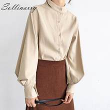 Sollinarry Solid Stand Kraag Retro Shirts Dames Herfst Winter Latern Mouwen Office Werk Blouses Shirts Vrouwen Losse Chic Blusas(China)