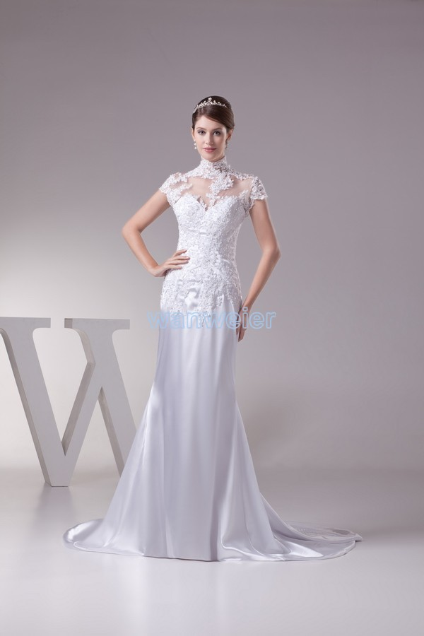 Free Shipping 2016 New Design Fashion Lace Bridal Gown Islamic Dress Short Sleeve Custom Size/color Small Train Wedding Dresses