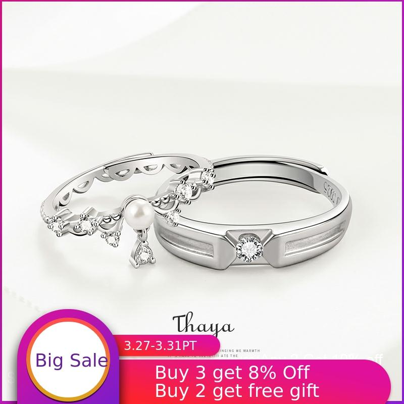Thaya Wedding Rings 925 Sterling Silver Adjustable Couple Rings Romatic Rings For Women Engagement Gift