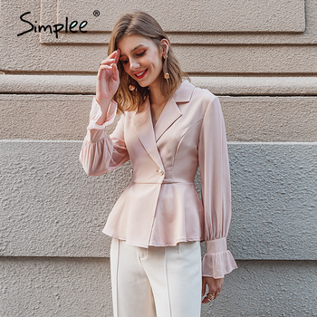 Simplee Casual white button blazer Chic long sleeve fitted office ladies blazer Autumn women bottom Ruffled 2020 outerwears 1