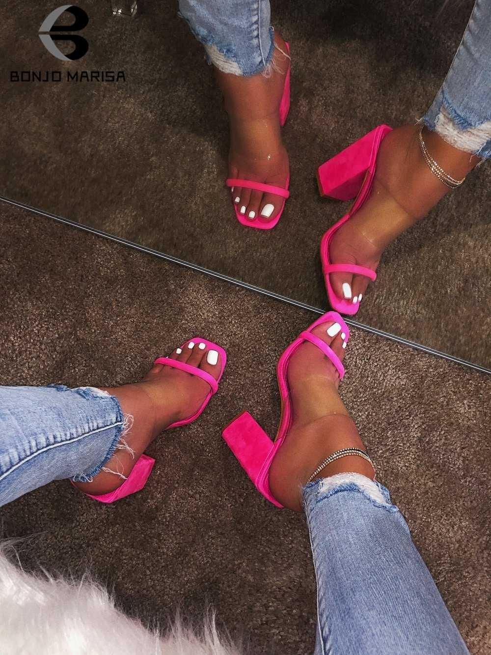 BONJOMARISA Yeni INS Sıcak Renkli Oyma Katır Kadın 2019 Şeffaf Slaytlar Yüksek Topuklu Terlik Kadın parti ayakkabıları Kadın 37-42