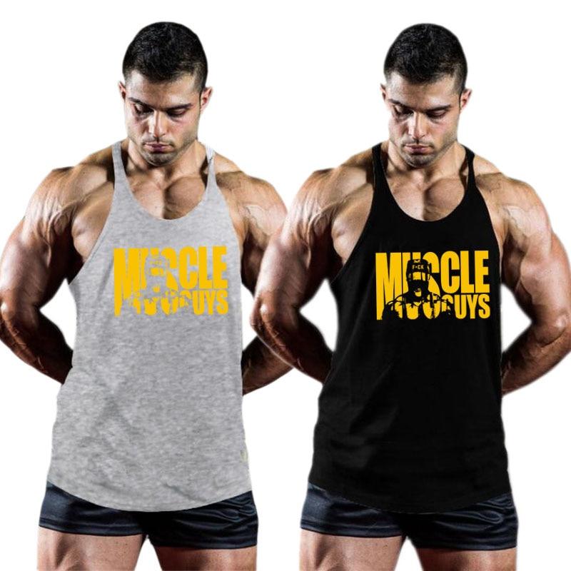 Muscleguys Bodybuilding Clothing Mens Gym Tank Tops Men Sleeveless Shirt Singlets Fitness Clothing Cotton Workout Stringer Vest