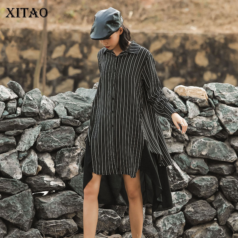 XITAO Fashion Fake Two Chiffon Striped Dresses Minority Plus Size Splice Irregular Women Dress Single-breasted Clothes XJ3687