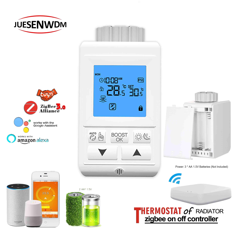 M30*1.5 Programme Zigbee NC NO Controller Radiator Thermostat For By Wifi APP Tuya Gateway Hub
