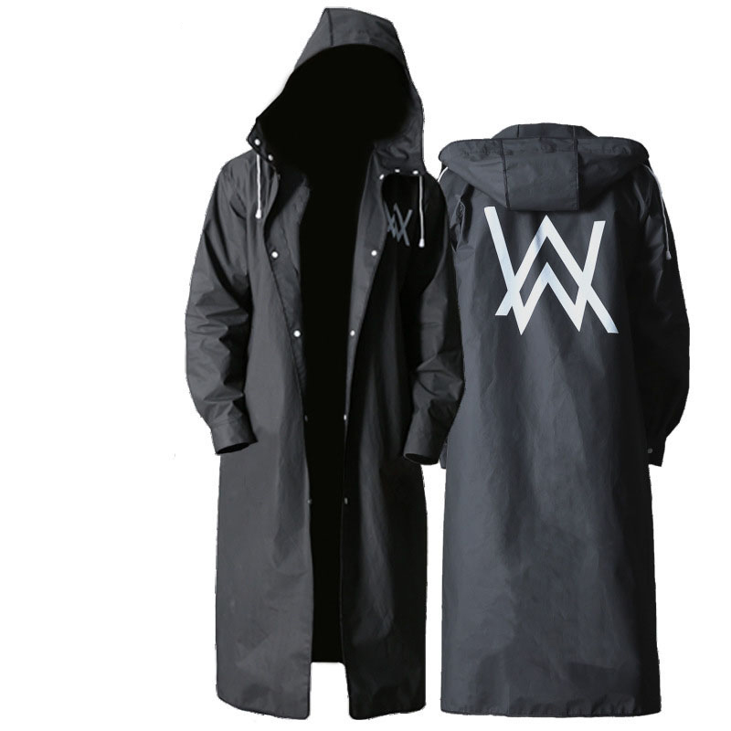 Stylish EVA Black Adult Raincoat Allen Walker Pattern Long Style Outdoor Men Hiking Environment Poncho Raincoat