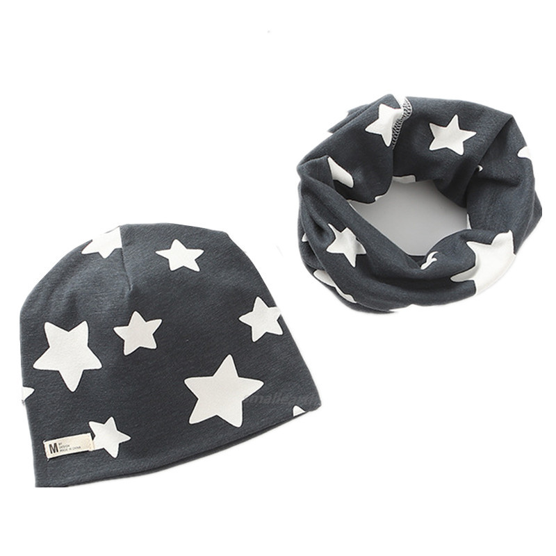 2Pcs/Set Plush Girls Hat Scarf Sets Children Crochet Cotton Hats Autumn Winter Girl Boys Warm Caps Kids Cartoon Hat Collars Sets