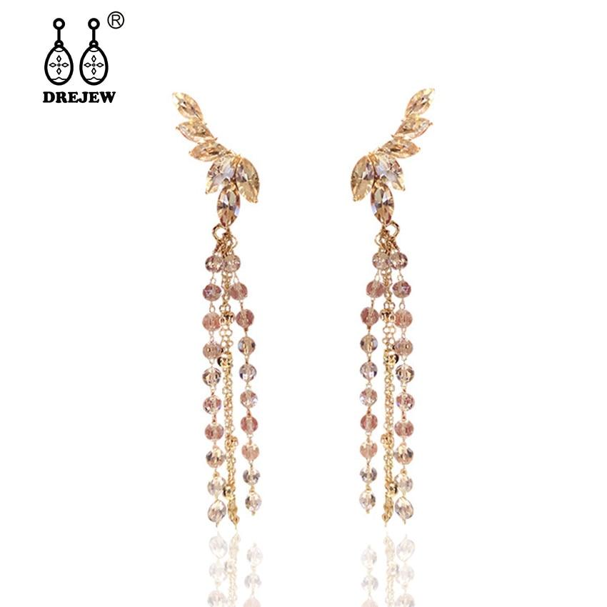 DREJEW Angel Wings Rhinestones Statement Earrings Long Tassel 925 Gold Silver Drop Sets for Women Wedding Jewelry HE529