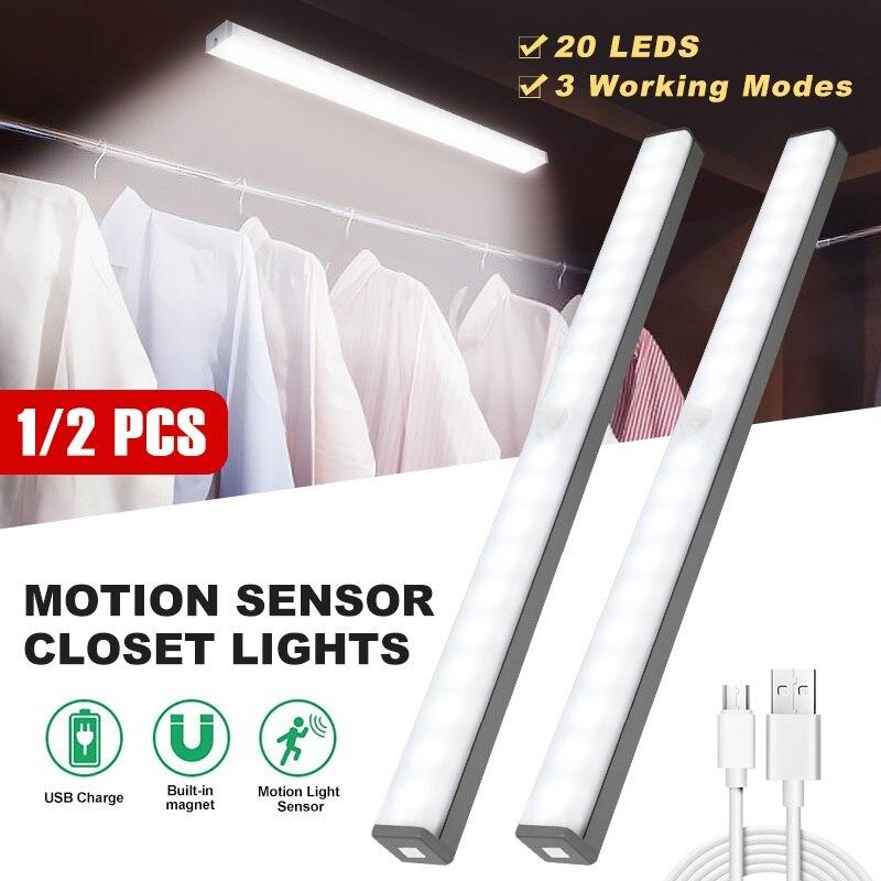 1/2 Pcs capteur de mouvement placard lumières sous le Cabinet lumières lumineuses 20 LEDs USB Rechargeable armoire garde-robe escaliers placard lumières