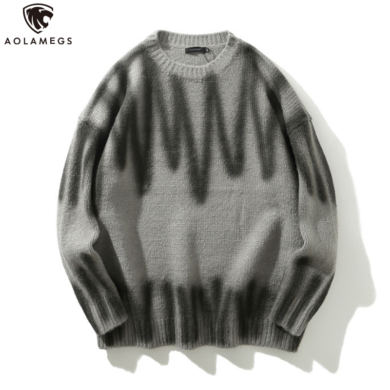 Aolamegs Sweater Men Hip Hop Style Pullover Sweaters Casual Retro Tops Comfortable Knitted High Street Streetwear Couple Autumn