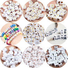 Beads White Loose-Spacer-Beads Diy Bracelet Jewelry-Making Letter Acrylic Rose-Gold Cube