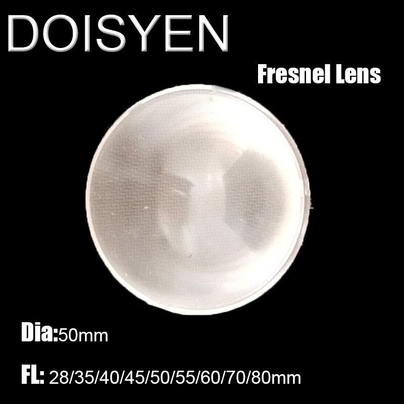 Led fresnel lente diâmetro 50mm fl 28/35/40/45/50/55/60/70/80mm fresnel para diy projetor fresnel lense concentrador solar estágio lâmpada
