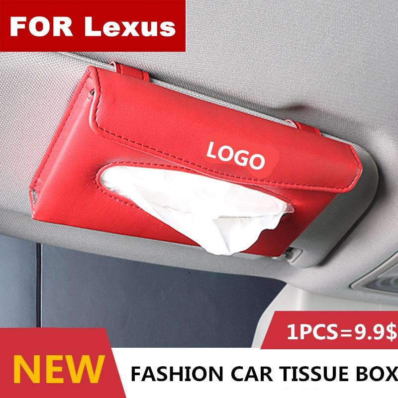 New Car Tissue Box Quality Car PU Sunshade Type Pendant Interior Tissue Box For Lexus Logo NX GS RX IS ES GX LX RC Ls 250 350