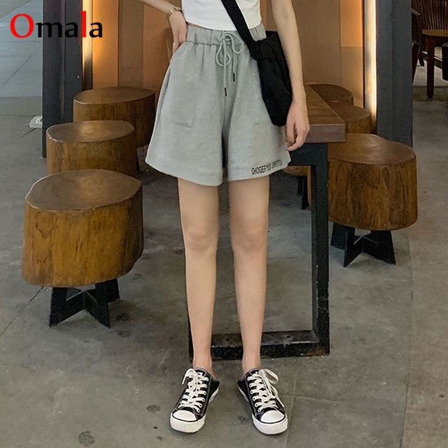 fashion 100% cotton Shorts Women Loose All-match Korean gray black Leisure Female Simple letter embroidery elastic jogger shorts 5