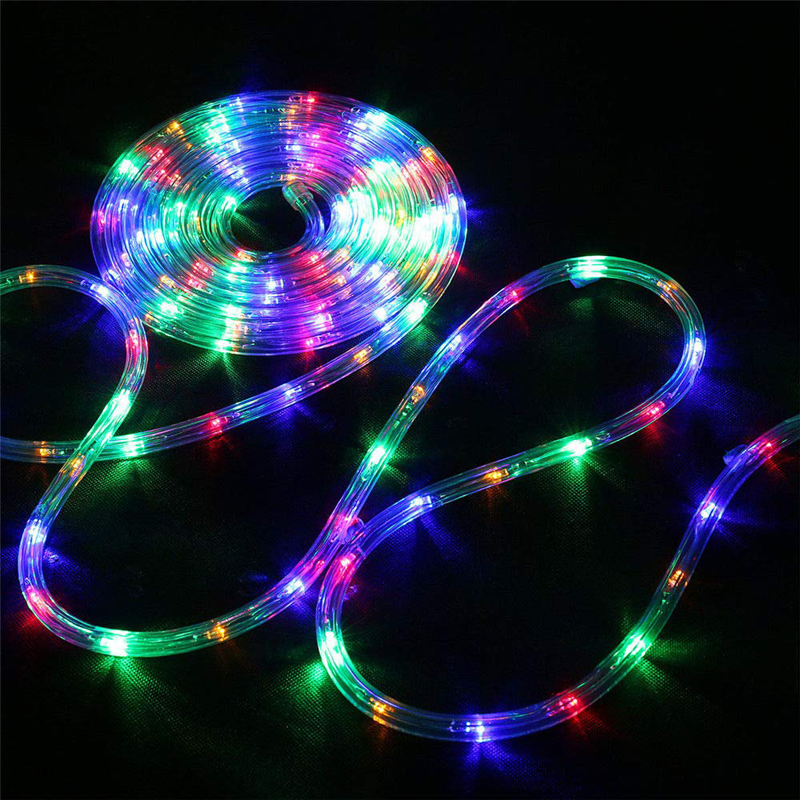 LED Outdoor Solar Lamp 12M 100 LEDs Rope Tube String Lights USB Fairy Holiday Christmas Party Garden Decoration Waterproof Light