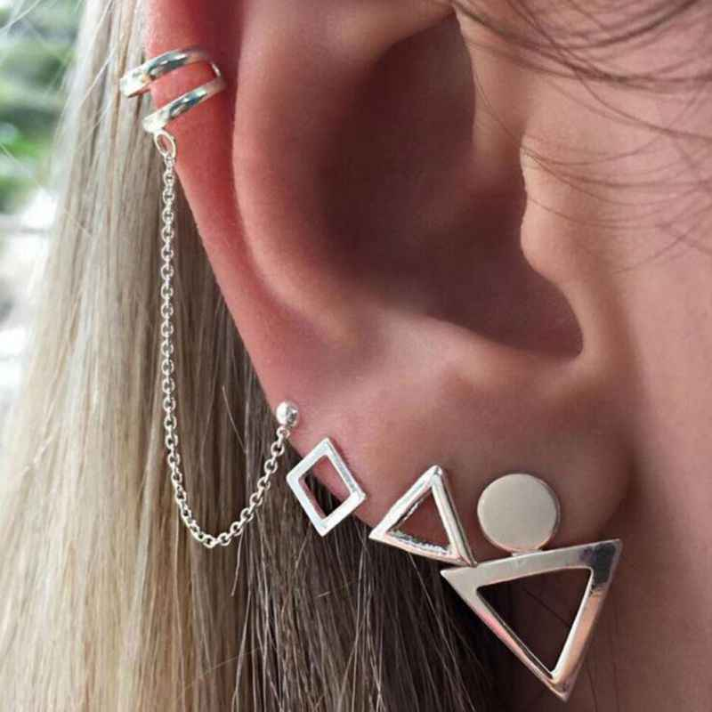 Punk Style Silver Color Earring Sets 4 Pieces Bohemia Ear Clip Stud Earrings For Women Geometric Earrings Wholesale