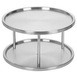 Spice rack organizador bandeja de aço inoxidável 360 graus giratória 2 suporte para mesa jantar cozinha balcões armários