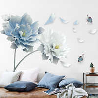 Large White Blue Flowers Lotus Butterfly Removable Wall Stickers 3D Wall Art Decals Mural Art for Living Room Bedroom Decor