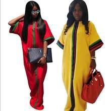 2020 африканские платья для женщин Лето осень полосатый принт