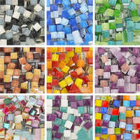 50g/pack Transparent glass Mosaic tiles multi-color Square DIY craft Mirror House Decoration Creative Stone Making Handcraft