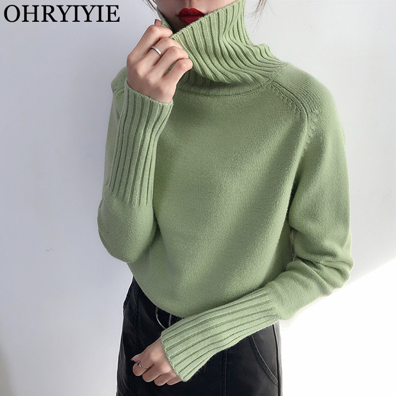 OHRYIYIE 2019 Autumn Winter Women Knitted Turtleneck Sweater Casual Soft Jumper Slim Cashmere Elasticity Pullovers Tops Female