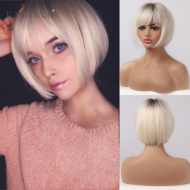 EASIHAIR Short Hair Wig with Bangs Pixie Cut Ombre Black Ash Light Blonde Synthetic Wigs for Women Cosplay Wigs Heat Resistant