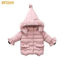 VFOCHI New Girls Down Coats Kids Winter Jacket Parka Children Windproof Snowsuit Color Pink Thick Hooded Outwear