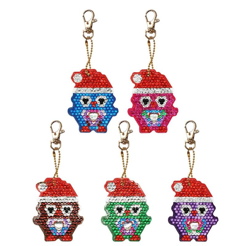5pcs DIY Full Drill Diamond Painting Keychain Special-shaped Xmas Penguin Key Chains Diamond Embroidery Christmas Gift