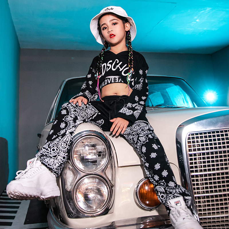 Girls Jazz Dance Costumes Children Hip Hop Dance Costumes Kids Black Set Stage Outfits Performance Clothing Street Wear DQS2895