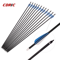 6/12/24Pcs Spine 500 Mixed Carbon Arrow with 2 Blue and 1 White Color Shield Feather for Recurve/Compound Bows Archery Hunting|Bow & Arrow|   -