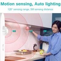 Bajo el gabinete luz inalámbrica Sensor de movimiento luz Led cinta de la lámpara a prueba de agua armario de cocina escaleras de noche luz DC5V diodo cinta