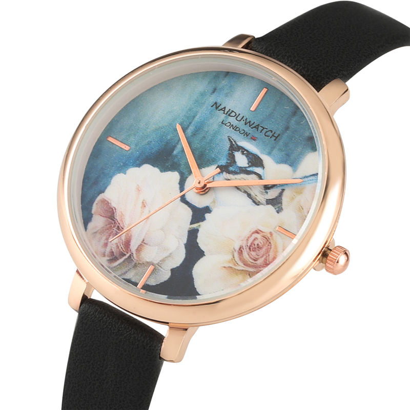 Quartz-Watch Clear Rose-Gold Flower-Pattern Girls Vintage for Attractive Dial Women Pointers